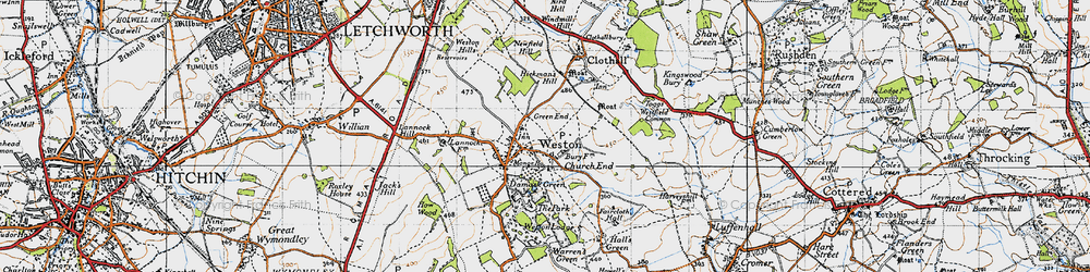 Old map of Weston Bury in 1946