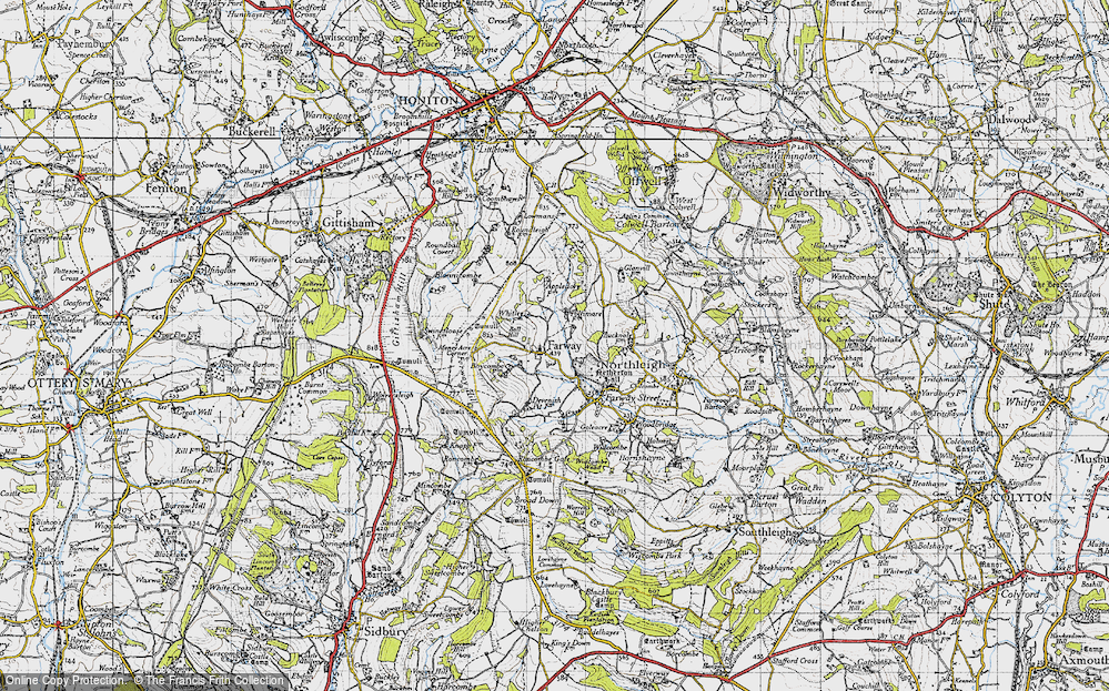 Old Map of Historic Map covering Ball Hill in 1946