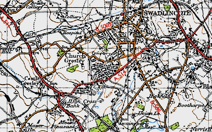 Old map of Church Gresley in 1946