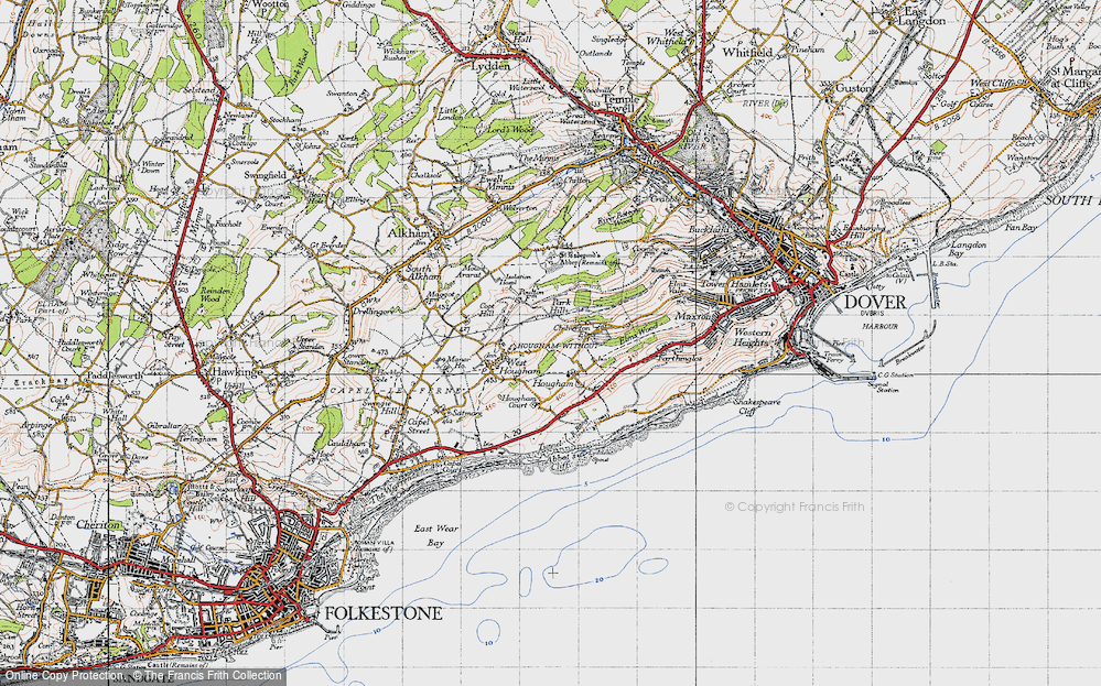Old Map of Historic Map covering Abbot's Cliff in 1947