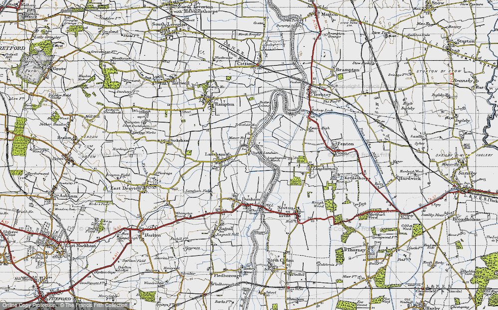 Old Map of Historic Map covering Laughterton Marsh in 1947