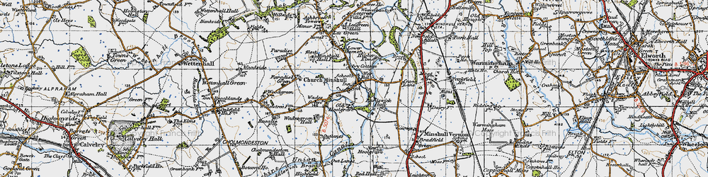 Old map of Church Minshull in 1947
