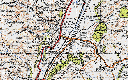 Old map of Church Stretton in 1947