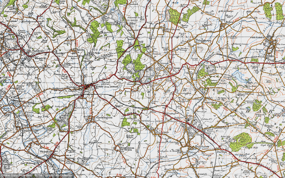 Old Map of Historic Map covering Alton Hill in 1946