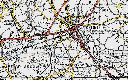 Old map of Church Town in 1946