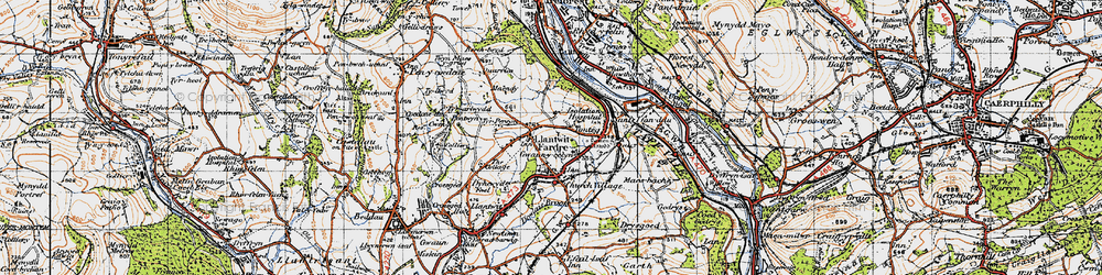 Old map of Church Village in 1947