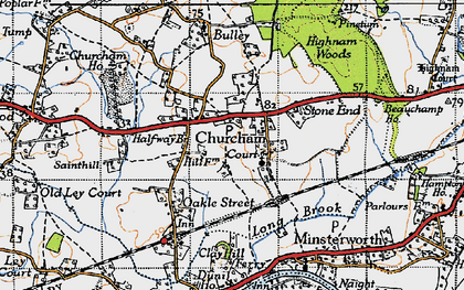 Old map of Churcham in 1947