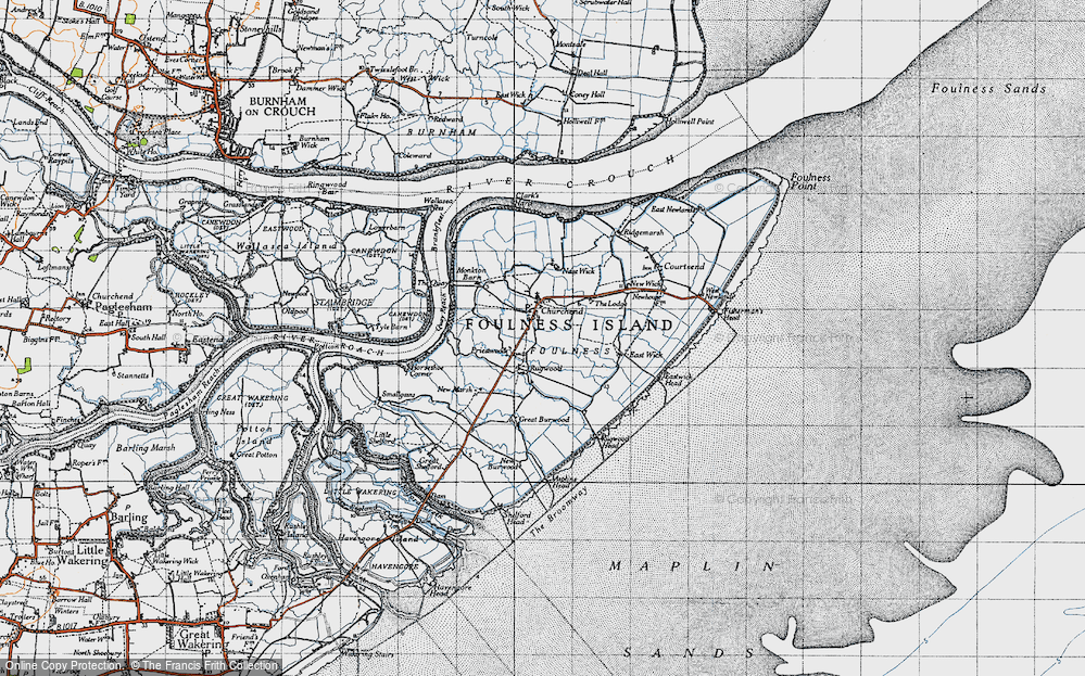 Old Map of Historic Map covering Asplins Head in 1945
