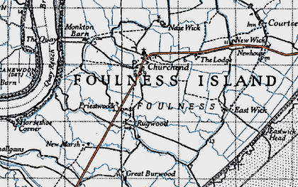 Old map of Foulness Island in 1945