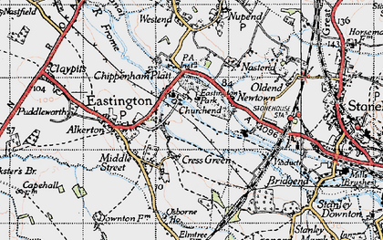 Old map of Churchend in 1946