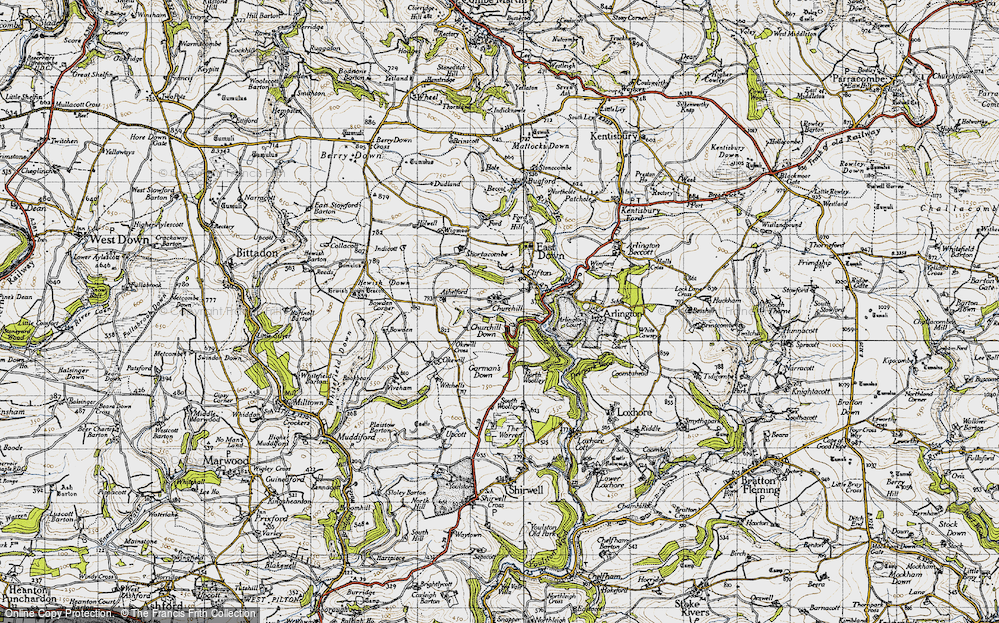 Old Map of Historic Map covering Ashelford in 1946