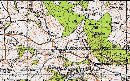 Old map of Withycombe Scruffets in 1946