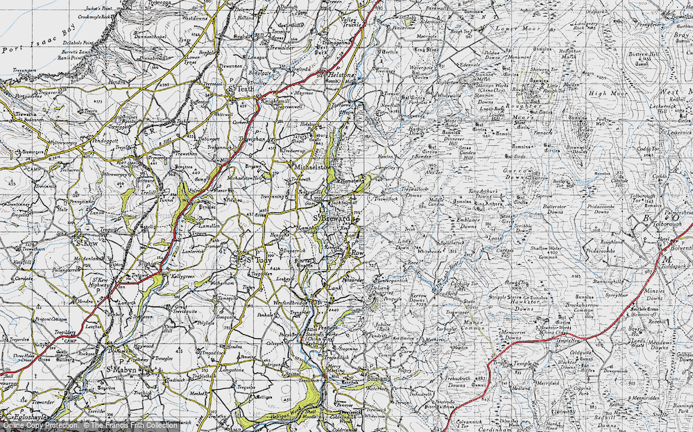 Old Map of Historic Map covering Alex Tor in 1946