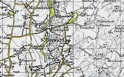 Old map of Alex Tor in 1946