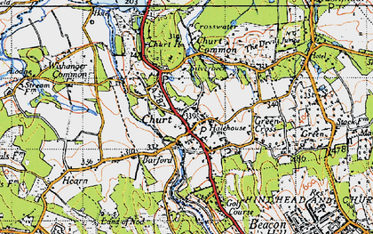 Old map of Churt in 1940