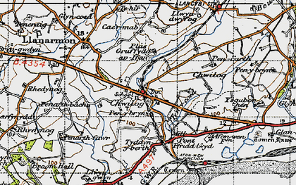 Old map of Chwilog in 1947