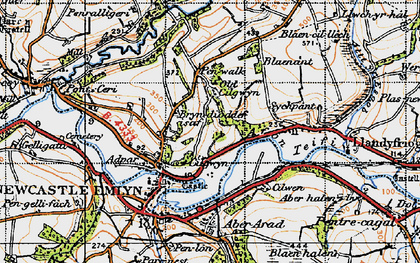 Old map of Afon Teifi in 1947
