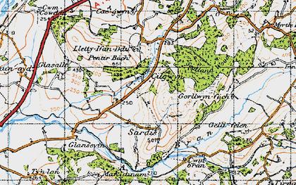 Old map of Cilgwyn in 1947