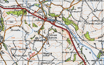 Old map of Ciliau Aeron in 1947