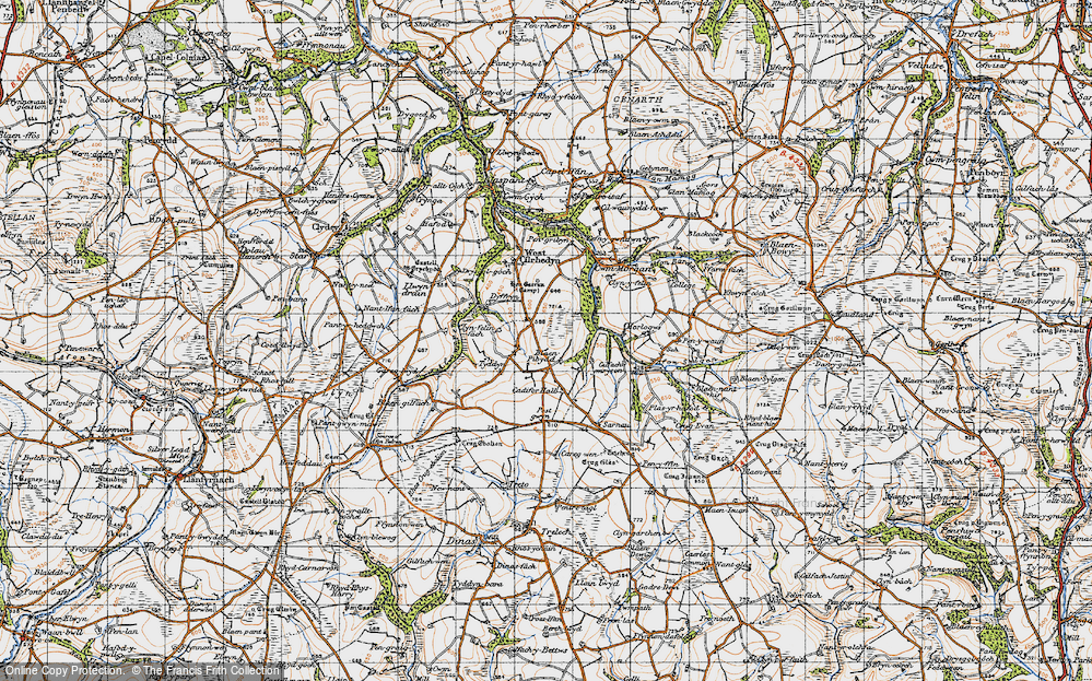 Old Map of Historic Map covering Afon Pedian in 1946