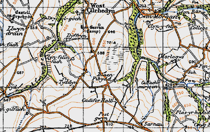 Old map of Afon Pedian in 1946