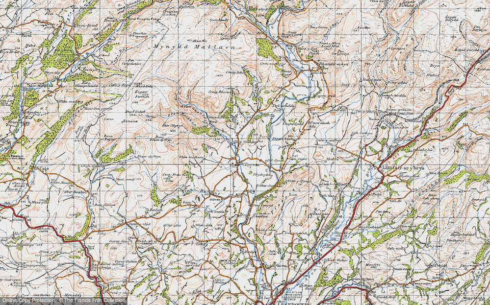 Old Map of Historic Map covering Afon Merchon in 1947