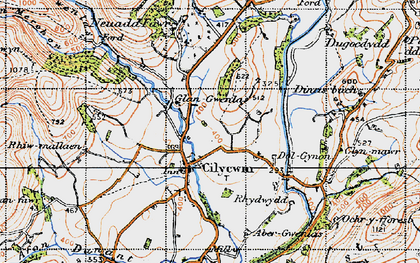 Old map of Afon Tywi in 1947