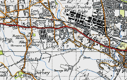 Old map of Cippenham in 1945