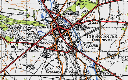 Old map of Cirencester in 1947