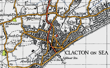 Old map of Clacton-On-Sea in 1946