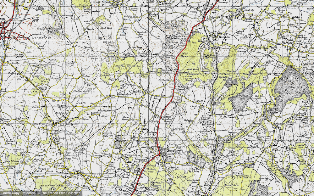 Old Map of Historic Map covering Windmill Hill in 1945
