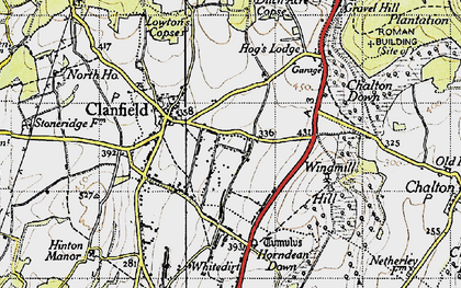 Old map of Clanfield in 1945