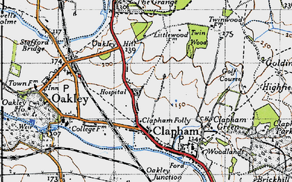 Old map of Clapham in 1946