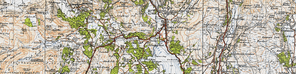 Old map of Todd Crag in 1947