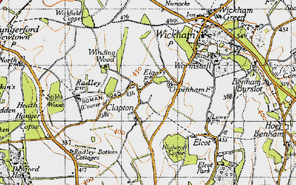 Old map of Wickfield Copse in 1945