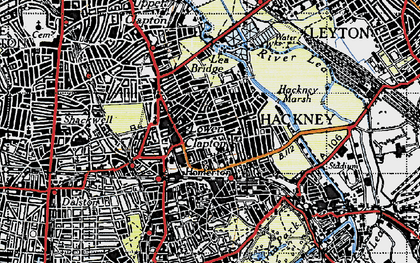 Old map of Clapton Park in 1946