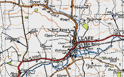 Old map of Clare in 1946