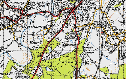 Old map of Claremont Park in 1945