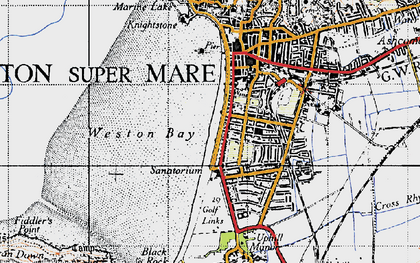 Old map of Weston Bay in 1946