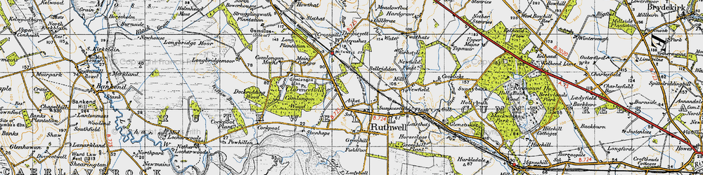 Old map of Thwaite Burn in 1947