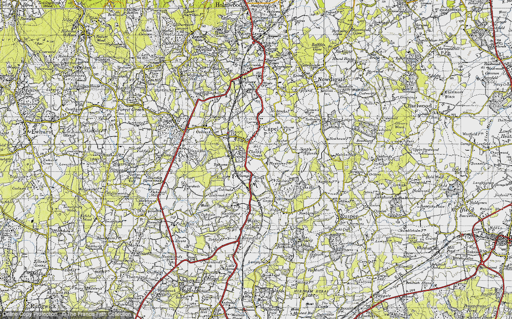 Old Map of Historic Map covering Tiphams in 1940