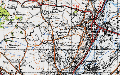 Old map of Clase in 1947