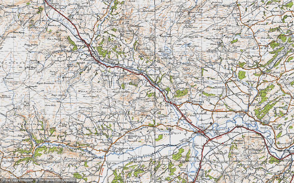 Old Map of Historic Map covering Allt y Genlli in 1947