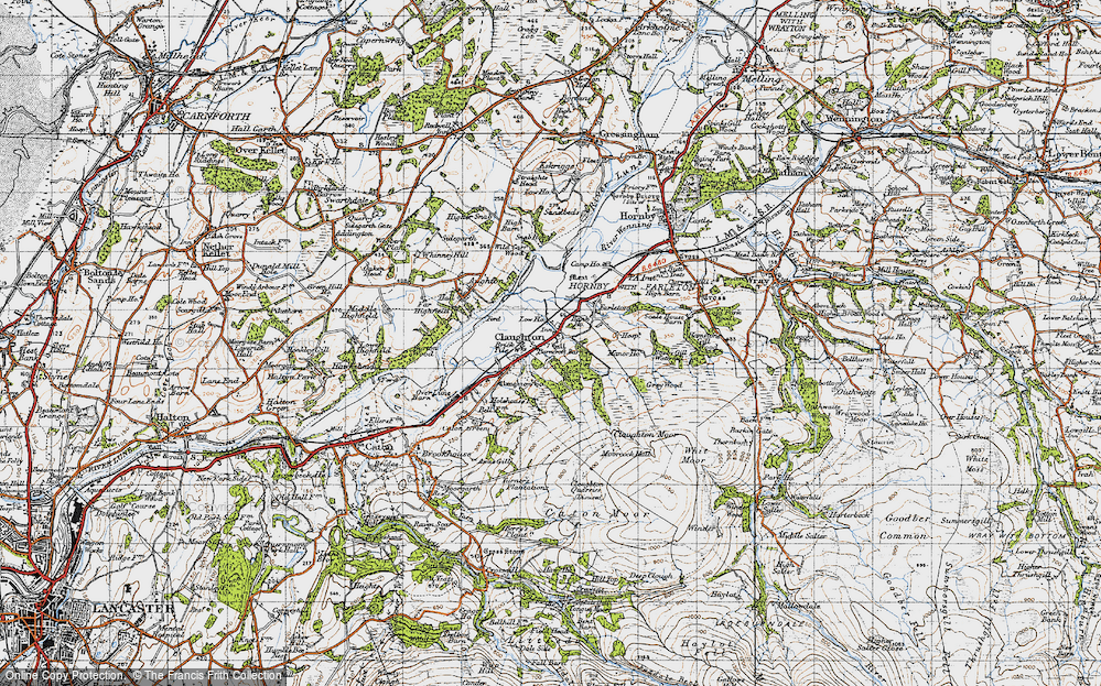 Old Map of Historic Map covering Whit Moor in 1947