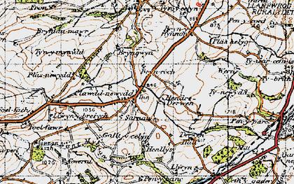 Old map of Clawdd-newydd in 1947