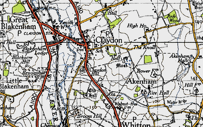 Old map of Claydon in 1946