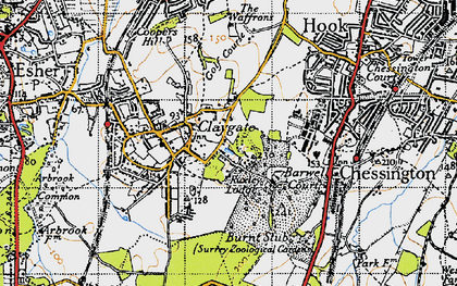 Old map of Claygate in 1945