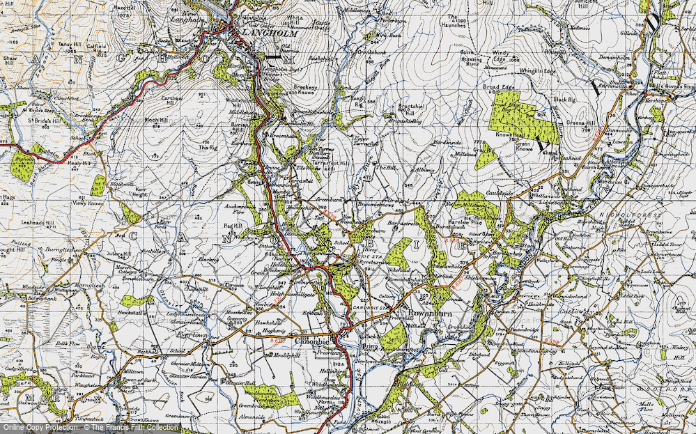 Old Map of Historic Map covering Albierig in 1947