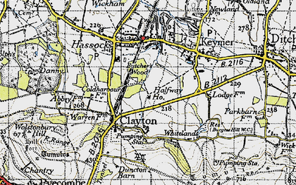 Old map of Clayton in 1940