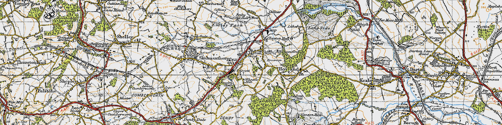 Old map of Clayton West in 1947